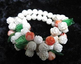 Antique Cabbage Rose Stretch Bracelet