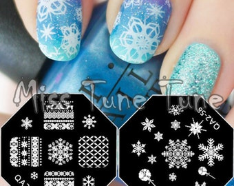 XMAS Special! QA 57 & 58 Christmas Autumn Winter Nordic Pattern Nail Stamping Plate Snowflake Snow Festival Party Nails