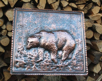 Bear painting handmade copper