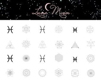 Pisces Nail Decal / Zodiac / Astrology / Sacred Geometry / Nail Wraps / Nail Art / Nail Tattoo / Nail Design