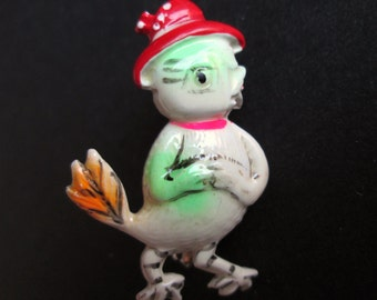 Vintage Tiny Retro Figural Chicken Hen in Hat Brooch Pin Hand Painted Enamel Whimsical Cute Bird Adorable