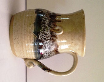 Ceramic Earth tones Glazed Handcrafted Oversized 1970s Mug; Signed by the Artist - McAnallen
