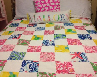 Custom Hand Sewn Lilly Pulitzer Inspired Quilt ANY SIZE.