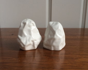 Abstract White Salt & Pepper Shakers