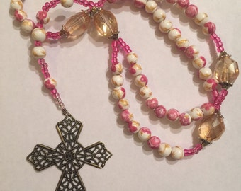 Pink floral rosary