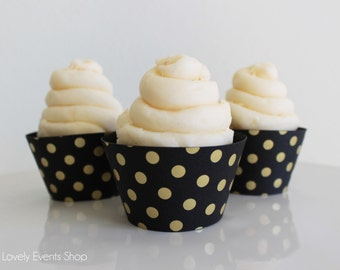 Black And Gold Polka Dot Cupcake Wrappers, Gold Cupcake Wrappers, Black Cupcake Wrappers, Polka Dot Cupcake Wrappers- Set Of 6, 12,18,24+