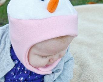 Fun Fleece Baby Snowman Chinstrap Hat