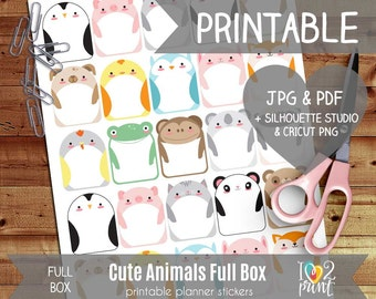 Cute Animals Printable Planner Stickers, Erin Condren Planner Stickers, Full Box Stickers, Cut Files SILHOUETTE / CRICUT