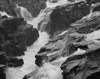 Waterfall black and white print, wild waterfalls in monochrome, Unmounted A4 size print