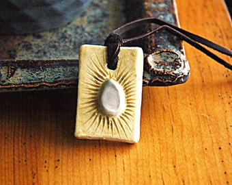 Yellow and grey ceramic pendant necklace