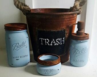 Mason Jar Bathroom Set. 4 Piece.Rustic. BLUE. Rustic Waste Basket.