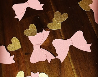 Girl baby shower confetti.  Bow confetti  Baby girl confetti.  Pink and gold confetti Girl birthday confetti.  Gender reveal party.  Princes