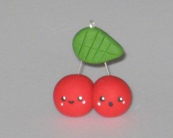 Twin Cherries Polymer clay charm
