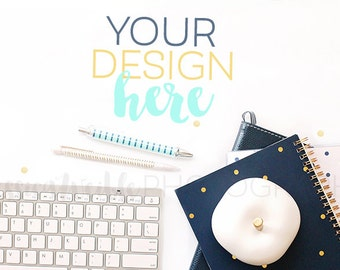 Navy Planner w/ Keyboard Styled Desktop, Styled Stock Photography, Stationery Styled Mockup, Product Background Photo, Planner, Keyboard