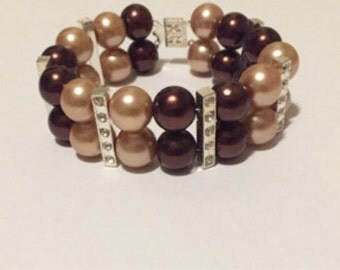 2 row glass pearl bracelet