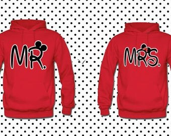 MR Mrs red sweaters couple, matching sweaters