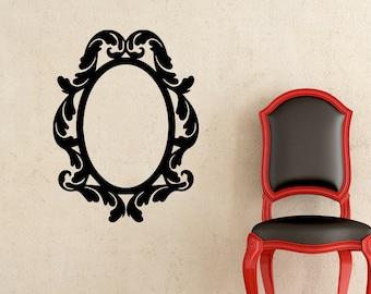 Oval Vinyl Frame - Wall Decal - Wall Art - Home Decor - Ornate Frame Vinyl Decal - Wall Vinyl Frame - Ornate Frame - Frame