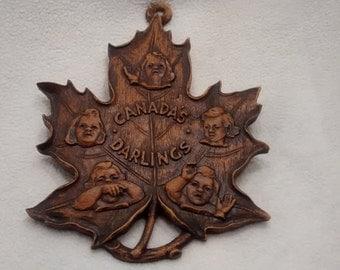 Very Rare Vintage Maple Leaf Wood Dionne Quintuplets Souvenir
