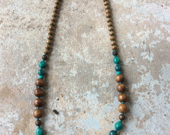 Turquoise and brown wooden long necklace