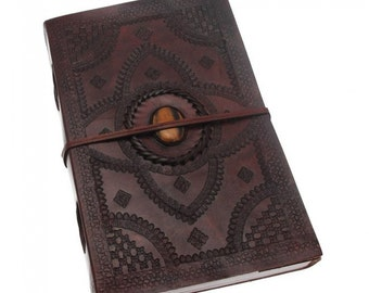 Handstitched Leather Bound Journal, with Stone Embossed in Centre
