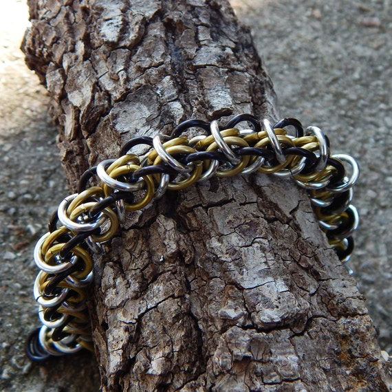 Gold Black & Silver Elfweave Chainmaille Bracelet - Elf Weave Chain Mail - Gothic Bracelet Jewelry