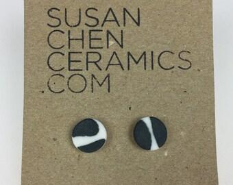 Black and white porcelain stud earrings