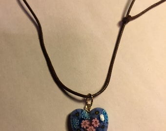 Murrina Glass Heart from Venice on Leather Strap
