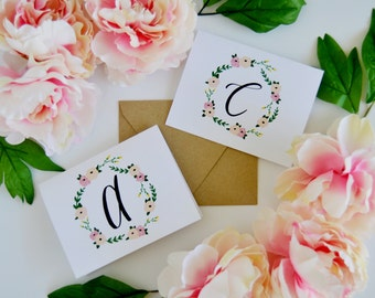 Initial Cards with Flowers| 12 card set