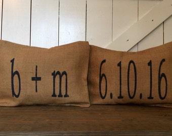 Wedding Gift Set, Date pillow, Couple initials pillow