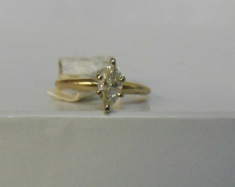 14K Yellow Gold .50CT Diamond Marquise Solitaire Engagement Ring
