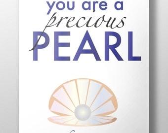 Precious pearl print, Matthew 13:44-46, instant download, pearl printable, bible verse print, #L65