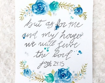 Scripture watercolor, QuoteWatercolor flower, floral wall decor, colorful art