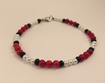 Red White And Black Beaded Bracelet