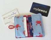 Card Wallet - Card Holder - Red Crabs on Blue - Fabric Card Holder - Card Holder Wallet - Business Card Holder - Credit Card Holder