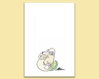 Tequila Chameleon Postcard Print