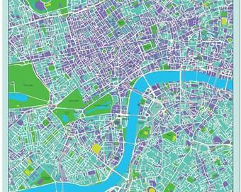 Silk Map Scarf of London - Blue