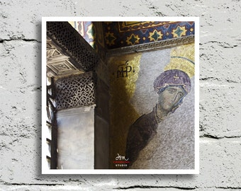Fine Art Print, Byzantine Mosaic Madonna in the Hagia Sofia, Istanbul, Turkey