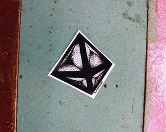 LIVING CUBE Sticker - Black & White, Hand-drawing, Darkness, Geometry, Cube, Dots and Lines, 3D, Space, Vinyl sticker