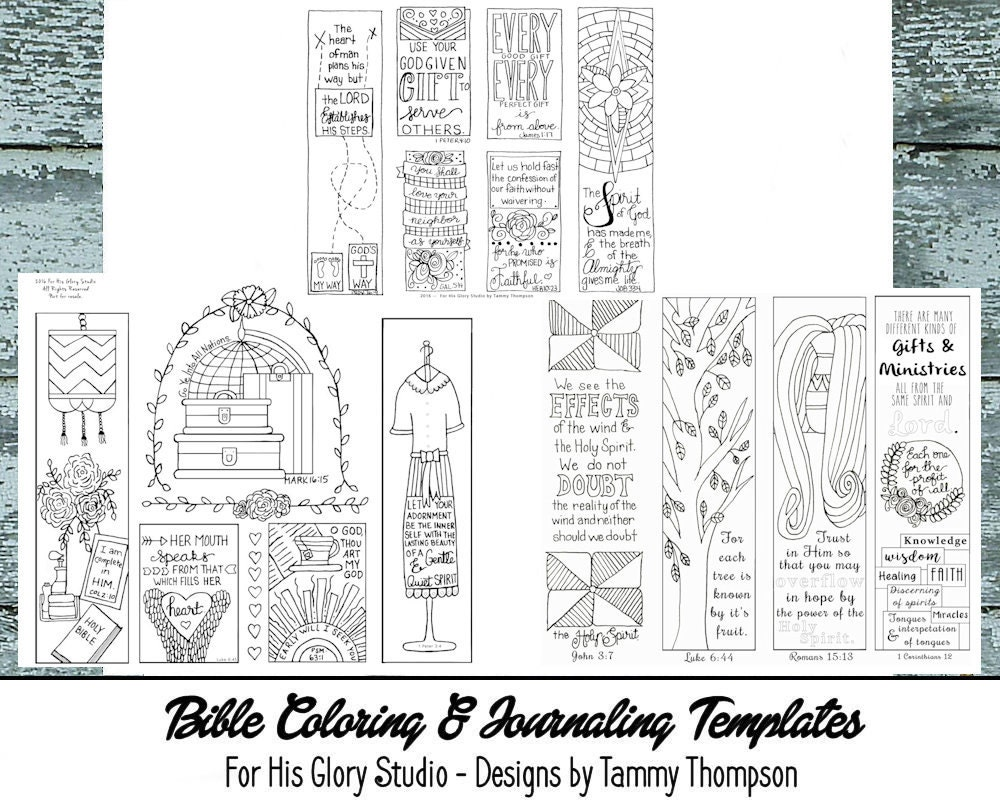 Religious bookmarks to color - Bible Journaling Bundle 3 25 Off 16 To 23 8 Pages Of Templates Bookmarks Coloring Bible Verses Margin Templates