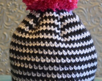 Hand made Crocheted baby hat, striped hat, pom pom hat, ready to ship