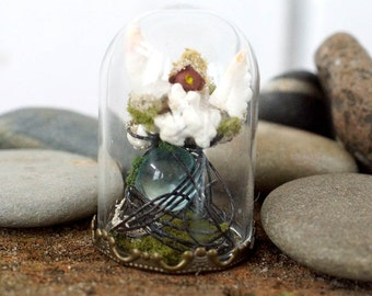 TinyLand #14 ~Cannibal house~ Miniature house,Sea shell and coral,Miniature bottle dome,Crystal Glass