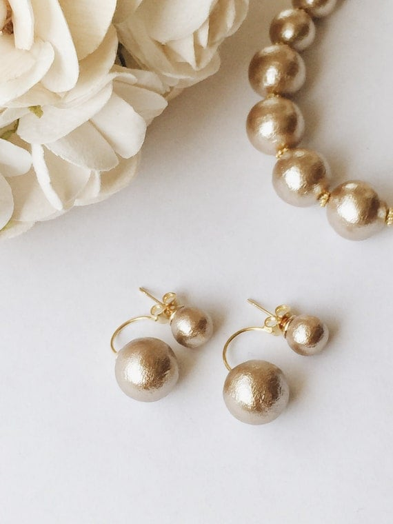gold cotton pearl two way earrings. Black Bedroom Furniture Sets. Home Design Ideas