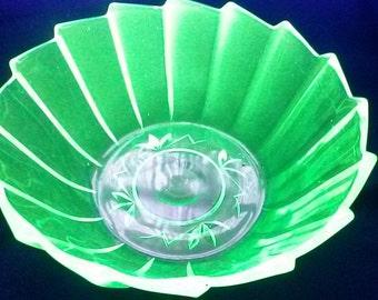 Art Deco Walther Uranium Glass Kopenhagen Compote Bowl