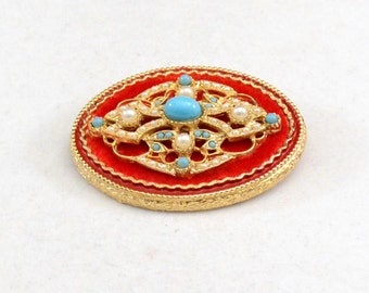 Vintage Gold Brooch, Turquoise Brooch, Pearl Brooch, Vintage ART brooch, Gold Dress Brooch         J870