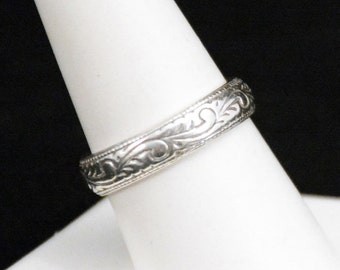 Sterling Band Ring, Silver Band Ring, Engraved Silver Ring, Sterling Silver Band Ring, 925 Engraved Swirl Ring    J1250
