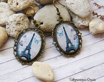 Paris Earrings Blue Earrings Eiffel Tower Earrings Glass Earrings Womens Gift Paris Jewelry Romantic Earrings Gift For Girl Romantic Gift