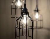 Vintage Custom Made Cage Pendant Light