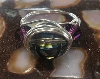 Wire Wrapped Jet Svwarski Crystal Ring