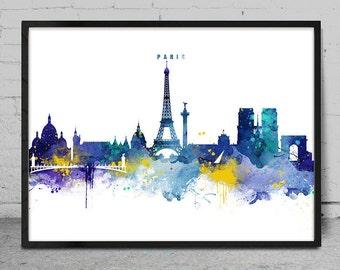 Paris Skyline, Paris France Cityscape Art Print, Watercolor Painting, Wall Art, Cityscape, City Wall art, Artwork, Art -x145