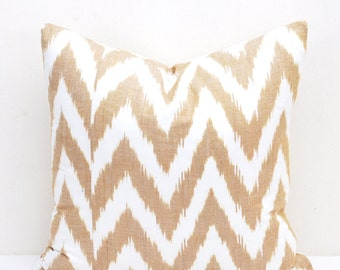 Chevron Throw Pillow, Ikat Pillows, Ikat Pillow, Throw pillow,  Ikat Cushion, Designer pillow, Decorative Pillow, tan white ikat pillow